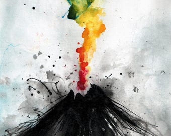 Ink art abstract painting on canvas 8x12in- rainbow volcano