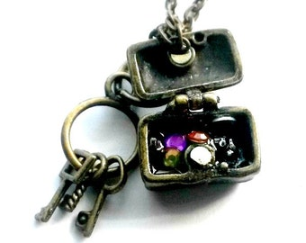 Treasure Chest Necklace Pirate's Booty keys Handmade Gift