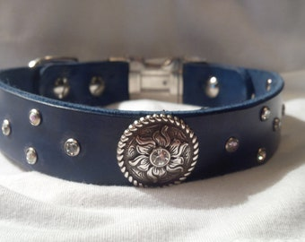 100% Leather Crystal Concho Dog Collar
