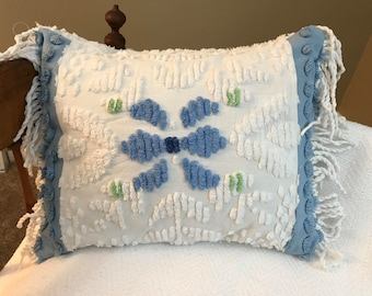 Shabby chic vintage chenille pillow