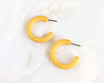 Vintage Yellow Bakelite Hoops