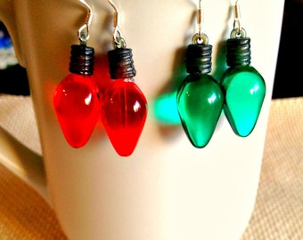 Plastic Christmas Light Dangle Earrings
