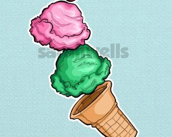 Food / Ice Cream / Sweets / Dessert / Kitchen Art / Decor / Foodie / Food Lover / Art Print / 5x7