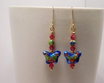 Cobalt Blue & Red Cloisonne Butterfly Earring Pair