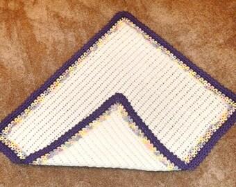 Heirloom Baby Blanket Hand Crocheted White Purple Rainbow Boy or Girl