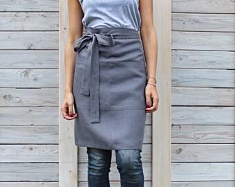 Cafe apron / Linen half apron / Men's and women's apron / chef half cafe wrap apron
