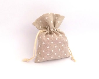 10 small hearts design hessian wedding favour bags