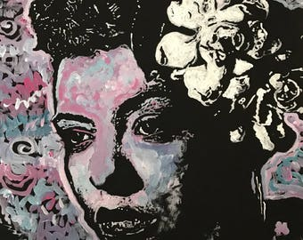 Billie Holiday Acrylic Painting on Canvas Wall Art by Matt Pecson 16x20 READY TO SHIP Jazz Art Bedroom Decor Urban Art Gift for Her