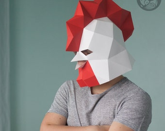 Rooster Low Poly Mask Download PDF