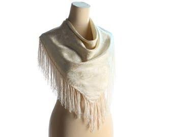Vintage WHITE Silk Scarf 1980s Minimal Style FRINGED Floral Print Muffle Minimalist Style Neckerchief Ivory White Wedding Scarf sku 4741