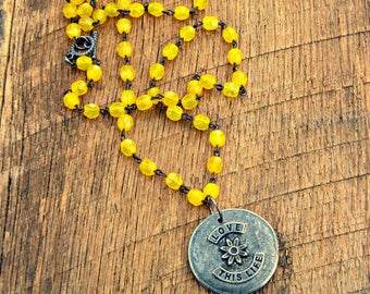 Love This Life Reversible Necklace double two sided positive saying phrase quote mantra inspirational flower floral yellow gunmetal
