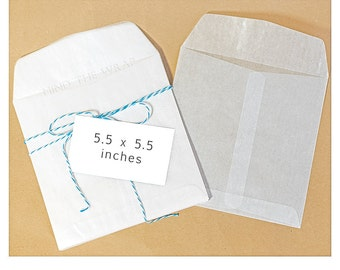 50 - 5.5 inch Square Glassine Envelopes - Translucent - Acid-Free - for cookies favors square photos cards ephemera dvd's