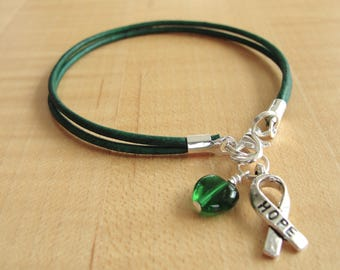 Green Awareness Bracelet (Leather) - Cerebral Palsy, Glaucoma, Kidney Disease, Liver Cancer, Organ Donation, Mitochondrial Disease, HPV