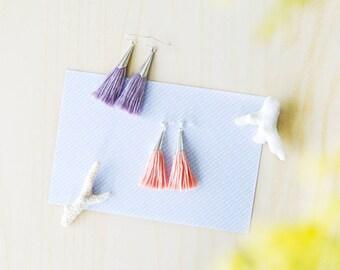 Pastel Handmade Tassel Earrings, Cotton Tassels, Silver Posts or Hooks, Light Pink Peach Pink Lilac Purple, Gift for Her, Dangling Tassels