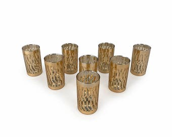 Gold Geometric Patterned Set of 8 Highball Glasses