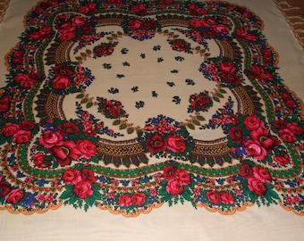 Polish Cracovian Folk Art Floral White Handmade Fringe Scarf/Beautiful Big Square Folk Wool Shawl/Rare Cracovian Folk Floral Pattern Scarf