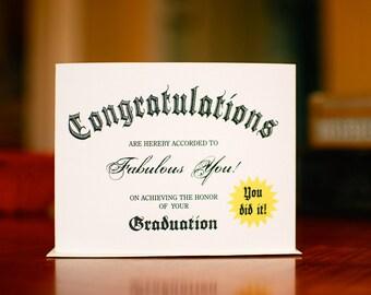 Diploma Graduation Congratulations Card (100% Recycled Paper)