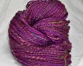 20% OFF SALE 7.6 oz 230 yards Purple Luxury batt and Purple Merino 2 ply yarn handspun handmade hand dyed