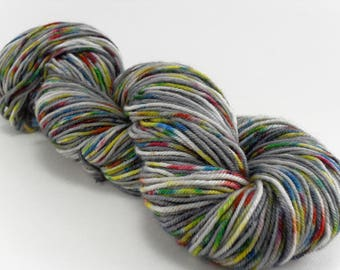 Hand dyed Yarn Sparkling Silver Stormcloud Rainbow self-striping 100 gram skein handdyed hand-dyed