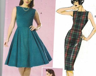 Butterick 264 Womens Fitted Top Dress with Fit or Flared Bottom SIze 6,8,10,12,14 UNCUT