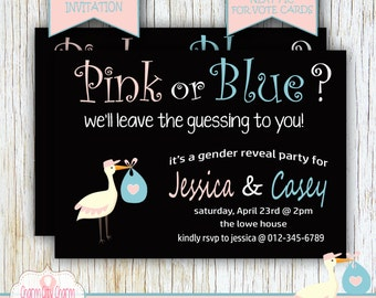 Gender Reveal Baby Shower Invitation, Stork Gender Reveal, Gender Reveal Shower, Boy or Girl