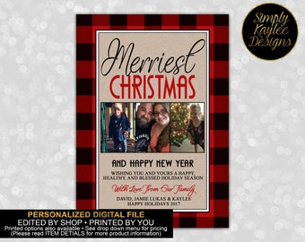 Plaid Merriest Christmas Family Photo Greeting Card