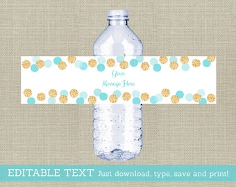 Blue & Gold Water Bottle Labels / Glitter Baby Shower / Glitter Dots / Confetti / Printable INSTANT DOWNLOAD Editable PDF A102