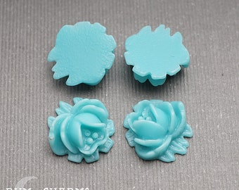 C0011 - Pendant Connector, Turquoise Colored , Small Half Rose Flower Flat Back Cabochon, 4 Pieces