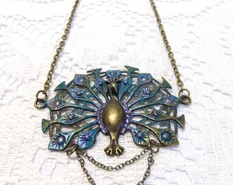 handmade antique bronze peacock necklace