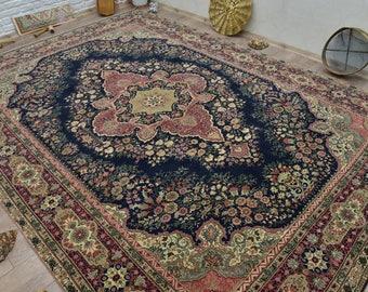 Suberb Quality Navy Rug, Oversize Rug, Vegetable Dyes Rug, Turkish Vintage Rug, Living Room Rugs, 7.9x11.5 feet Free Shipping Design Rug 466