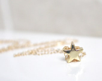 Gold Necklace, Gold Star Necklace, Star Necklace, Dainty Gold Necklace, Bridesmaid Gift, Christmas Gift, best friend gift, birthday gift