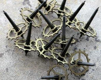 Vintage clock brass gears -- set of 10 -- D7
