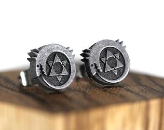 Full Metal Alchemist Ouroboros Symbol Earrings Stainless Steel Stud for FMA Cosplay-Homunculi