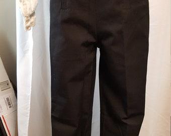 Regency Fall Front Black Wool Pants - Ready to Ship!