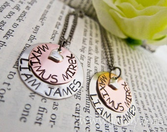 Sterling Heart Charm Hand Stamped Mommy Necklace - Custom Mummy, Mother Pendant - Two Discs, Kids, Children, Family