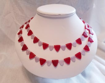 Double Strand Red & White Necklace