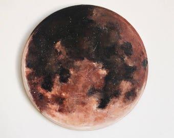 Blood Moon Painting - Moon art - moon painting - original painting - circular wall art - lunar art - super moon