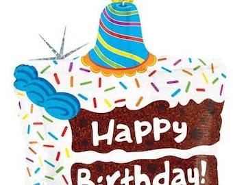 "Piece of Cake Birthday Balloon-28"" Holographic Balloon- Happy Birthday Party Balloons- Cake Balloon"