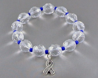 Colon Cancer Awareness Bracelet with Hope Ribbon Charm, with Donation