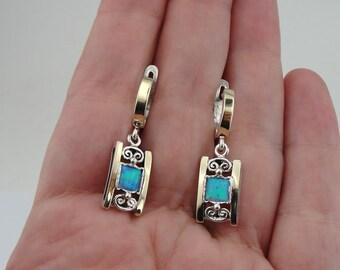 Filigree 925 Opal Earrings, Handcrafted 9k yellow gold & 925 sterling Silver Earrings, Blue stone earrings, Filigree Earrings, Gift (s e2613