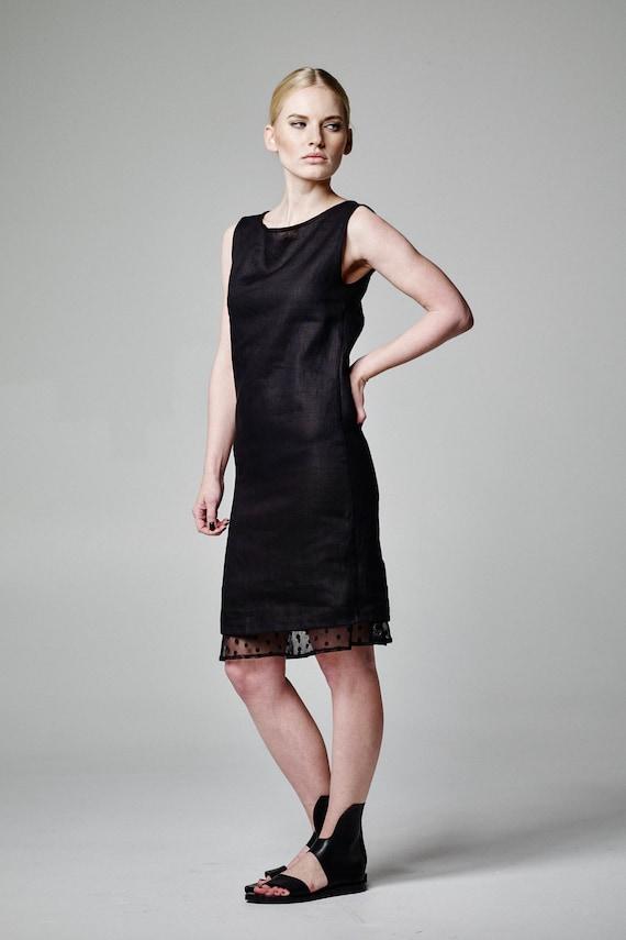 Leinen Tunika-Kleid schwarzes Leinen Kleid Leinen Midikleid
