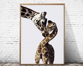 Giraffe print, Giraffe art, Safari print, Nursery decor, Safari nursery,Safari nursery art, Woodland nursery, Safari wall art, Gift for kids