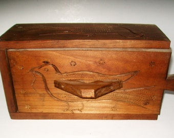 Vintage Carved Wood Box Dove Sliding Door Wall Hanging Collectible Storage