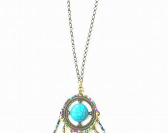 Be a Dreamer! Handcrafted Turquoise and Beaded Dreamcatcher Necklace with Bronze feathers and chain!