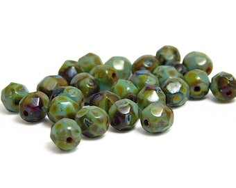 Fire Polished Beads - 6mm Beads - Round Beads - Czech Glass Beads - Czech Picasso Beads - Turquoise Picasso - 25pcs (B656)