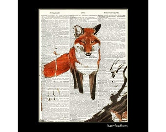 Vintage Fox Illustration - Dictionary Art Print - Book Page Art Print - Wildlife Print No. P484