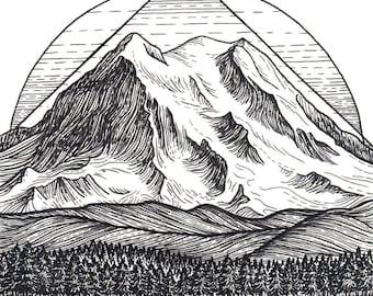 Mt Rainier 8x8 Print - Mountain Art Giclee Print - Mount Rainier, Seattle, Washington Drawing