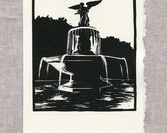 Central Park Bethesda Fountain Greeting Card - Box of 6 or 12 - Woodcut Style - New York Art, Central Park Art, NYC Card, Bethesda Art