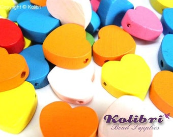 20x Large Wooden Hearts 18mm - Mixed Colours