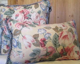 Large Floral Pillows Blue Trim